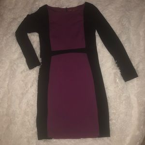 Magenta/black color block dress